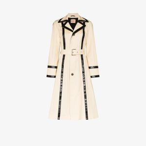 Plan C Womens Neutrals Contrast Trim Belted Trench Coat