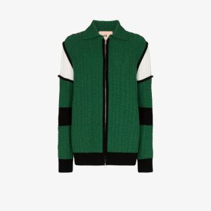 Plan C Womens Green Cable Knit Cardigan