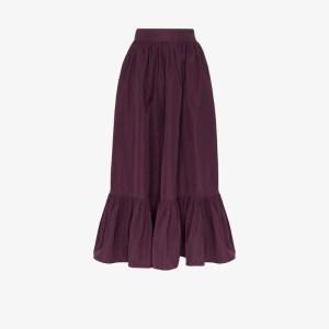 Valentino Womens Purple Gathered Maxi Skirt