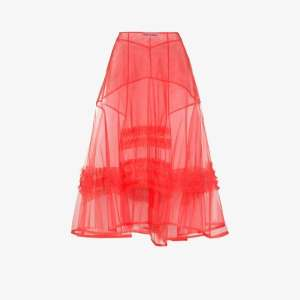 Molly Goddard Womens Pink Frilled A-line Midi Skirt