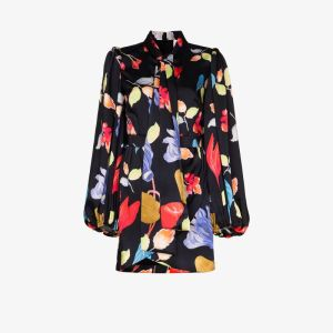 Peter Pilotto Womens Black Printed Pussybow Shirt Dress