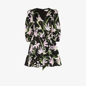 Borgo De Nor Womens Black Anita Floral Print Cotton Mini Dress