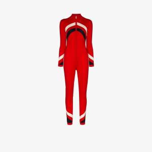 Perfect Moment Womens Red Chevron Zip-up Jumpsuit