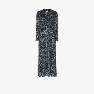 Rixo Womens Black Anja Leopard Print Maxi Dress