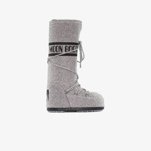 Moon Boot Womens Silver Classic Swarovski Snow Boots