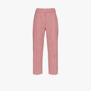 Alexandre Vauthier Womens Red Houndstooth Cropped Trousers