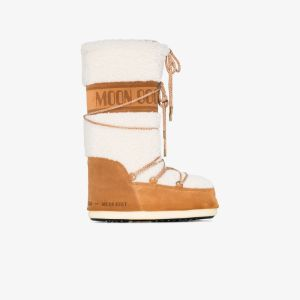 Moon Boot Womens White And Brown Shearling Snow Boots