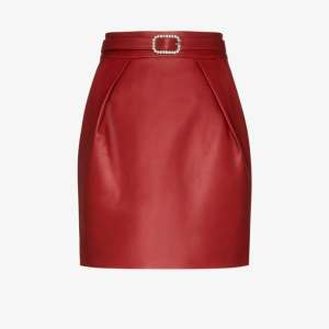 Alexandre Vauthier Womens Red Crystal Buckle Leather Mini Skirt