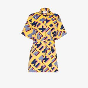 Kirin Womens Yellow Logo Jacquard Shirt Dress