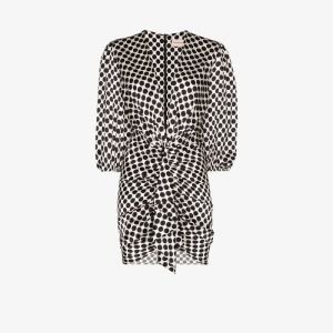Alexandre Vauthier Womens Black V-neck Polka Dot Mini Dress