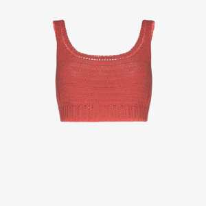 She Made Me Womens Pink Indra Crochet Crop Top