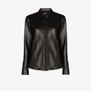 Markoo Womens Black Faux Leather Shirt