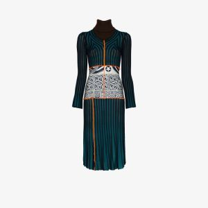 Duran Lantink Womens Blue Striped Patchwork Knit Dress