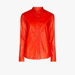 Markoo Womens Red Markoo Womens Red Button Down Shrt Lng Slvs Hgh Cll
