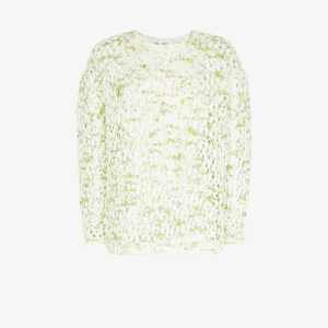 Xu Zhi Womens Green Crochet Sweater