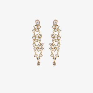 Kenneth Jay Lane Womens Gold Tone Square Crystal Drop Earrings