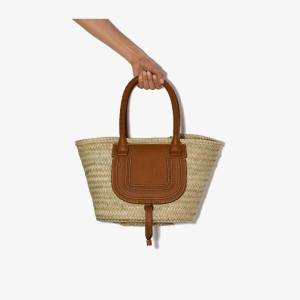Chloé Womens Neutrals Brown Marcie Straw Leather Basket Bag