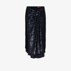 Sies Marjan Womens Blue Kayla Sequinned Asymmetric Midi Skirt