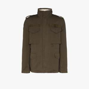 Yves Salomon Mens Green Merino Wool-lined Jacket