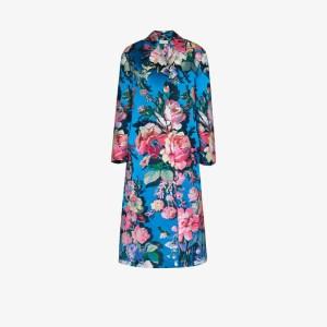 Dries Van Noten Womens Blue Ruberta Floral Print Oversized Coat