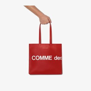 Comme Des Garçons Wallet Mens Red Logo Leather Tote Bag