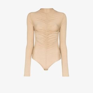 Fantabody Womens Gold Maria Ruched Bodysuit