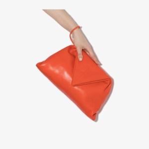 Bottega Veneta Womens Orange Envelope Leather Clutch Bag