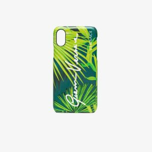 Versace Womens Green Leather Tropical Iphone X Case