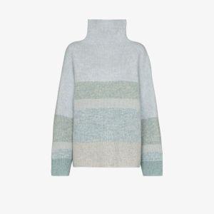 Le Kasha Womens Blue Kinsale Striped Cashmere Turtleneck Sweater