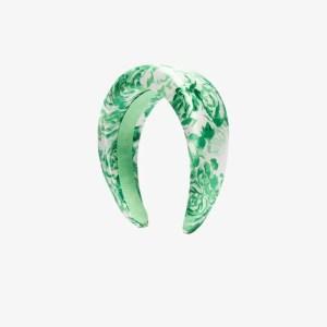 Ganni Womens Green Padded Floral Print Hairband