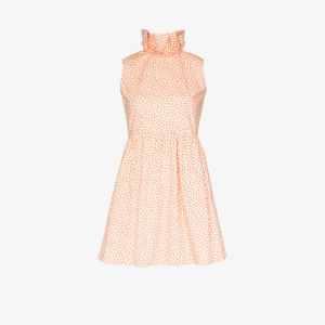 Batsheva Womens Orange Prairie Ruffle Collar Cotton Mini Dress