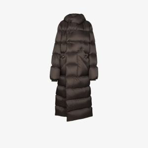Rick Owens Womens Grey Hooded Down Puffer Coat