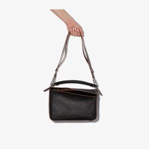 Loewe Womens Black Puzzle Medium Leather Shoulder Bag