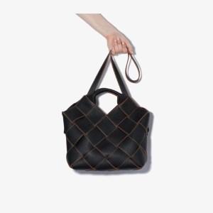 Loewe Womens Black Woven Leather Basket Tote Bag