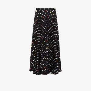 Christopher Kane Womens Black Long Polka-dot Pleated Skirt