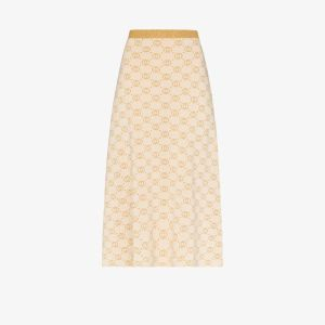 Gucci Womens Neutrals Interlocking G Lamé Midi Skirt