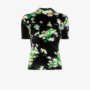 Richard Quinn Womens Black Turtleneck Fitted Floral Top