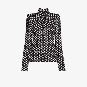 Richard Quinn Womens Black Twisted Polka Dot Sequin Top