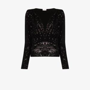 Saint Laurent Womens Black V-neck Sequin Blouse