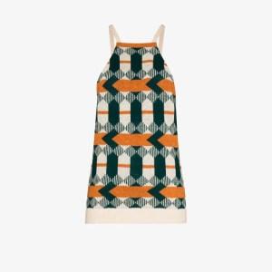 Prada Womens Green Geometric Jacquard Wool Tank Top