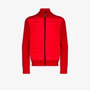 Canada Goose Mens Red Hybridge Quilted Zip-up Sweater