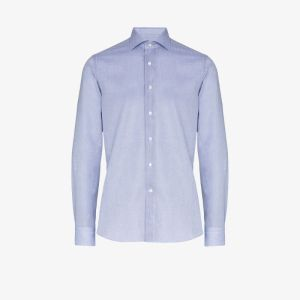 Canali Mens Blue Structured Cotton Shirt
