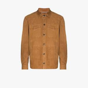 Canali Mens Brown Button-up Leather Shirt Jacket