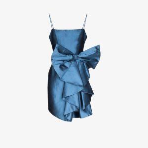 Rasario Womens Blue Large Bow Satin Mini Dress