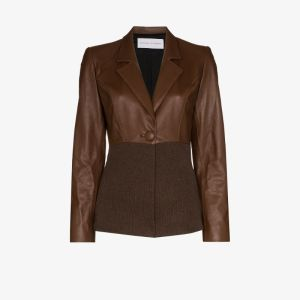 Michael Lo Sordo Womens Brown Knitted Leather Jacket