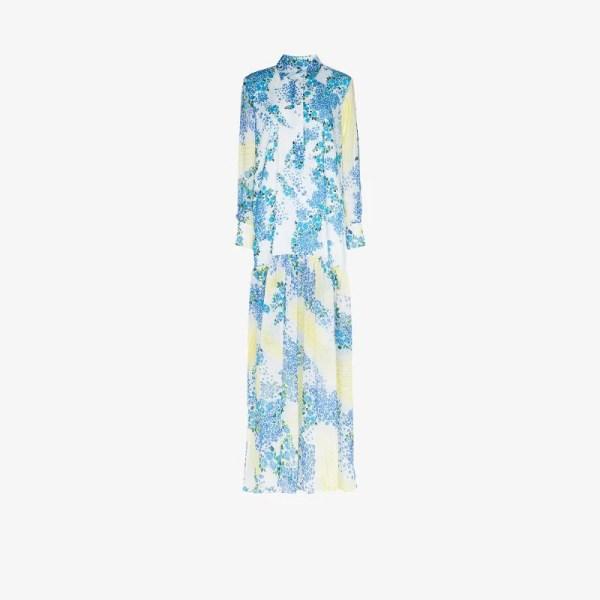 All Things Mochi Womens Blue Alona Floral Print Maxi Dress