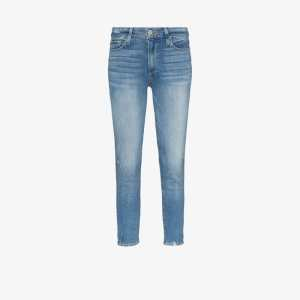 Paige Womens Blue Hoxton Cropped Skinny Jeans