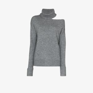 Paige Womens Grey Raundi Cutout Knit Sweater