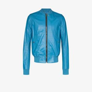 Rick Owens Mens Blue Fitted Bomber Jacket