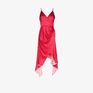 Haney Womens Red Olivia Asymmetric Polka Dot Satin Slip Dress